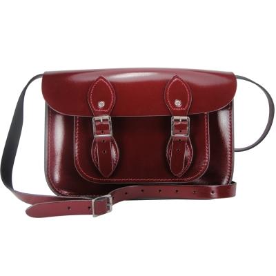 The Leather Satchel 英國手工牛皮劍橋包 肩背 側背包 浪漫紅 11吋