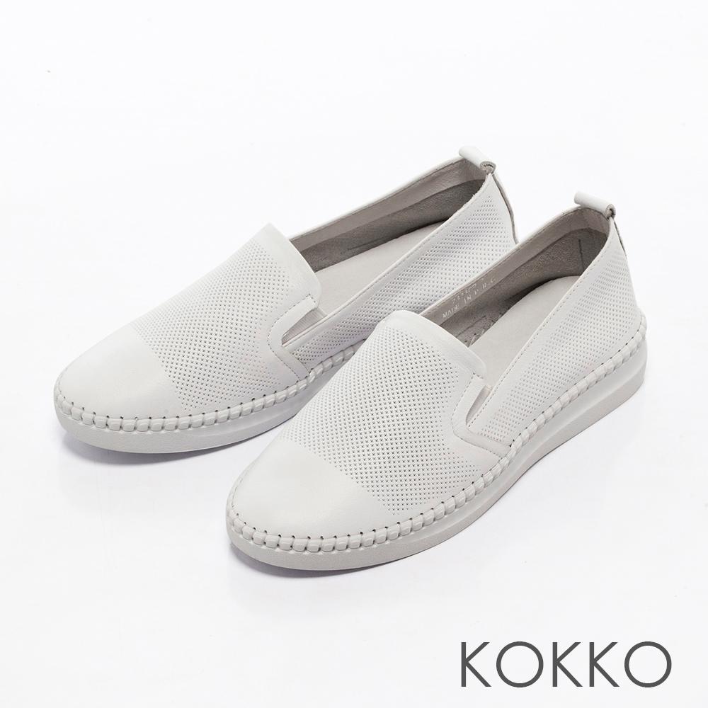 KOKKO -百變主流全真皮微厚底休閒鞋-搶眼白