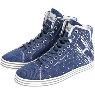 HOGAN 單寧亮片綴飾高筒休閒鞋(藍色)