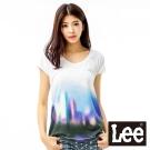 Lee 短袖T恤 下擺光影折射彩圖-女款(白)