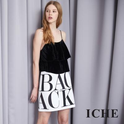 ICHE 衣哲 個性字母印花釘珠時尚造型短裙