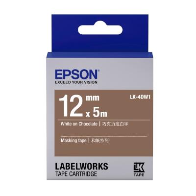 EPSON C53S654435 LK-4DW1和紙系列巧克力底白字標籤帶(寬度12mm)