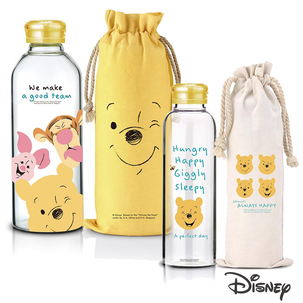 迪士尼Disney 微笑維尼耐熱玻璃瓶袋370ml+1L(快)