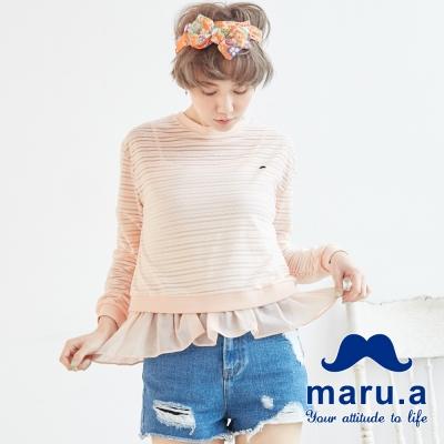 maru-a麻洛野-透視條紋造型兩件式上衣