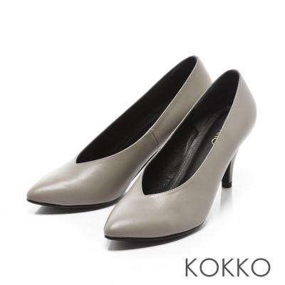 KOKKO - 復古經典尖頭牛皮V口高跟鞋-中性灰