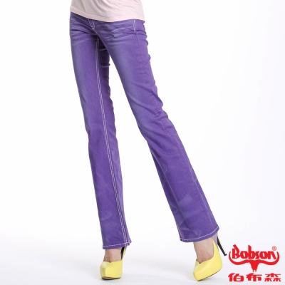 BOBSON 女款染刷白小喇叭褲