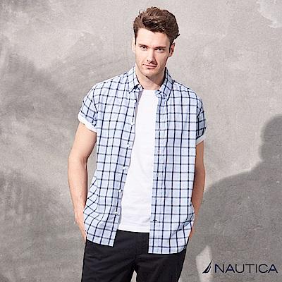 Nautica天絲棉短袖格紋襯衫-藍