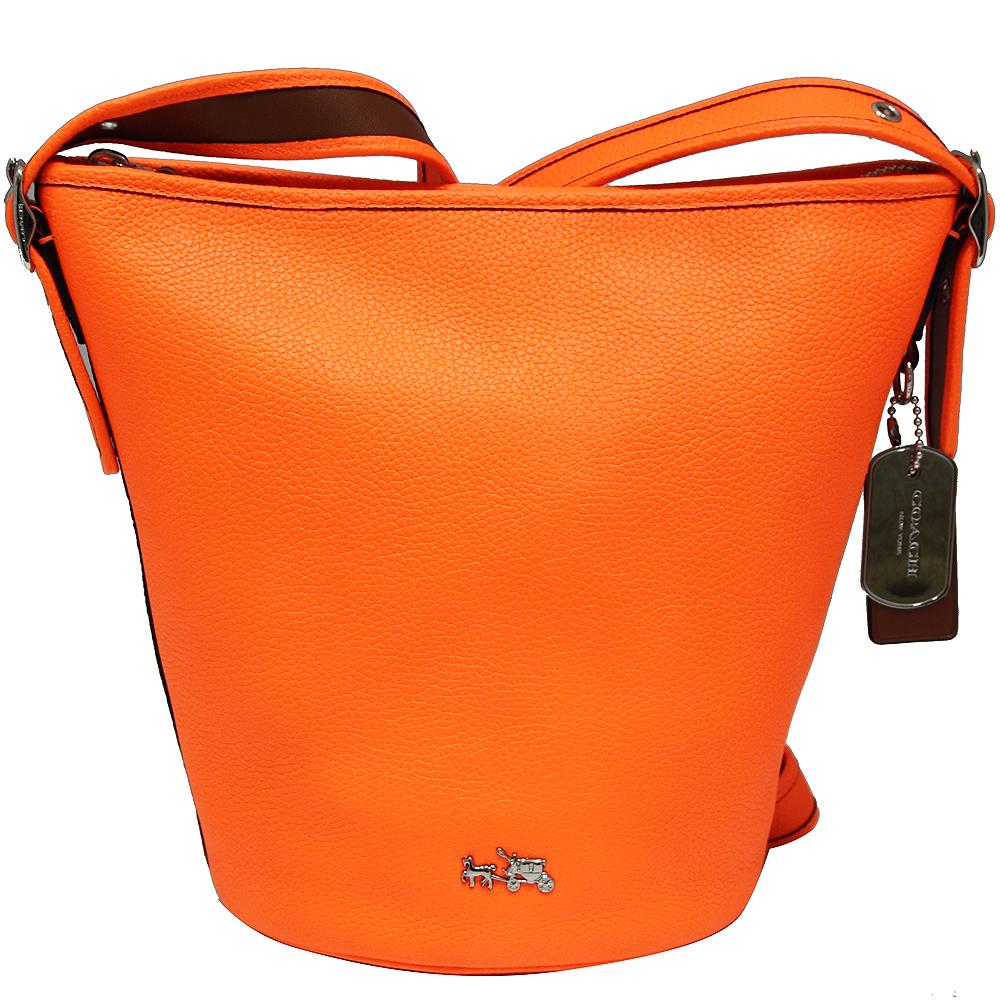 COACH立體馬車荔枝紋皮革斜背水桶包-霓虹橘(小)