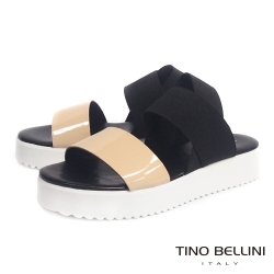 Tino Bellini 義大利進口亮彩皮革繃帶厚底涼鞋_膚+黑