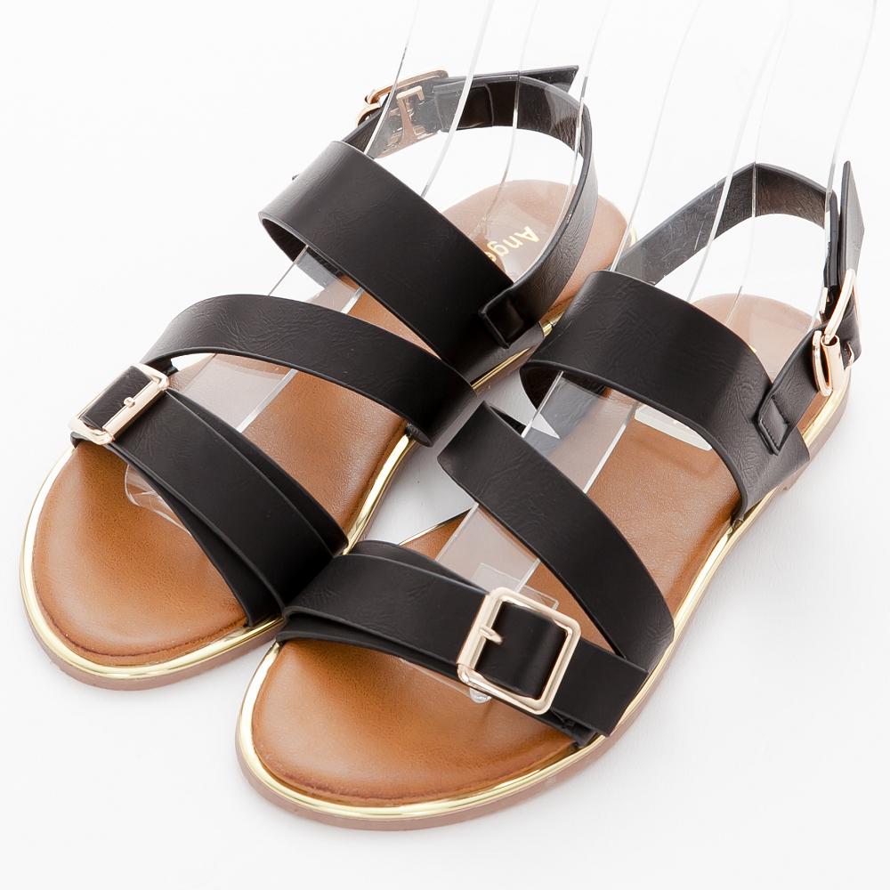 River&Moon涼鞋-率性寬版方金釦繞帶平底涼鞋-黑