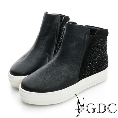 GDC舒適-水鑽拼接真皮內增高休閒鞋-黑色