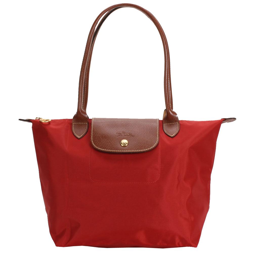 Longchamp 折疊小型水餃包(長提把/紅)