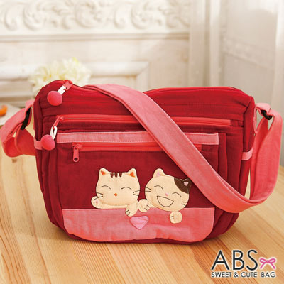 ABS貝斯貓 - 微笑貓咪搭小愛心拼布 斜側背包88-190 - 鮮梅紅