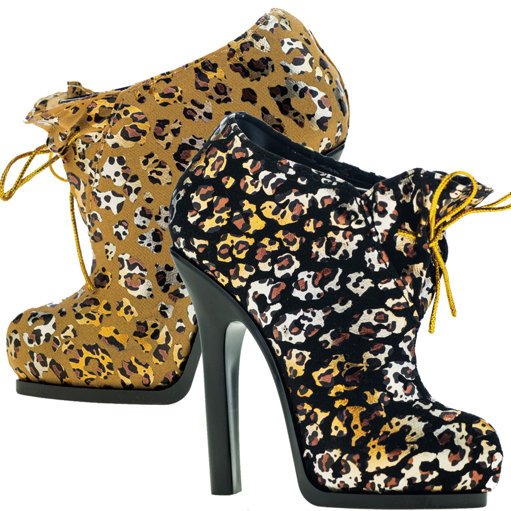 GALATEA葛拉蒂刷具高跟鞋收納筒2入(豹紋黑+金)