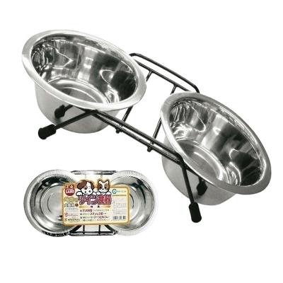 日本Marukan 不鏽鋼雙碗 M - 附支架 食盆/飲水盆 (DC-36)