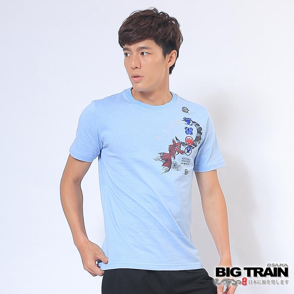 BIG TRAIN 燃夏金魚圓領T-男-淺藍
