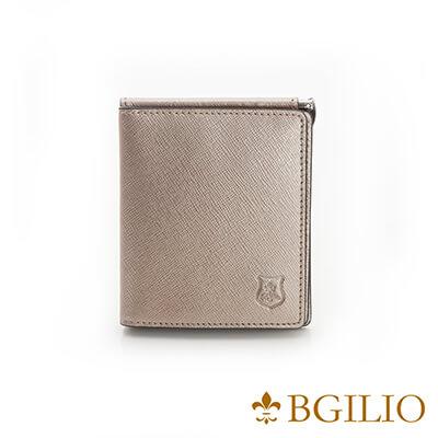 義大利BGilio-都會十字紋牛皮歐風輕薄短夾-金色-2299.301-17