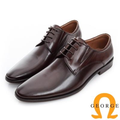 GEORGE 喬治-素面真皮底手工德比鞋-咖啡色