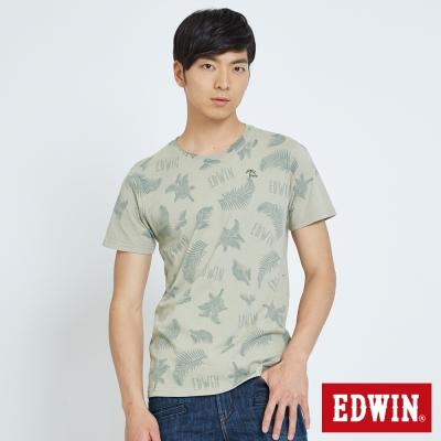 EDWIN 夏日椰林印花T恤-男-淺綠色