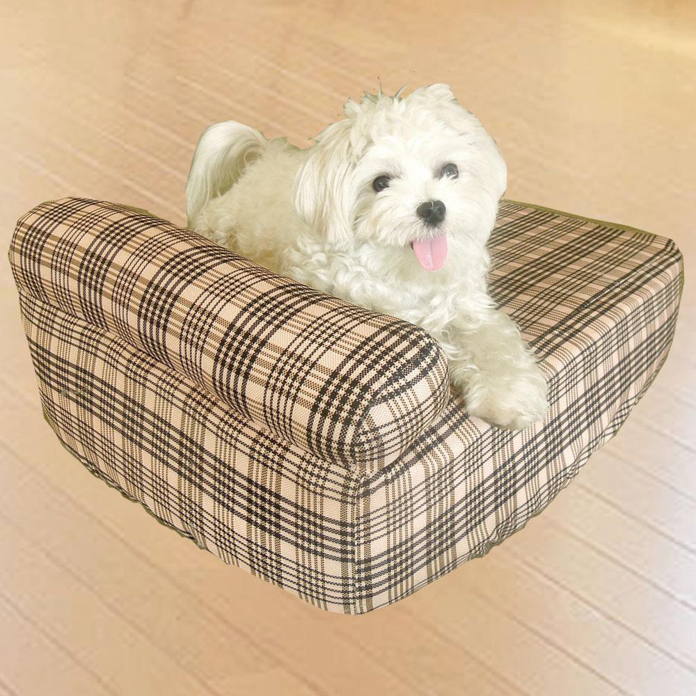 凱蕾絲帝-中小型寵物專用獨立筒彈簧床墊+英倫橘單枕床包-45*60*11CM