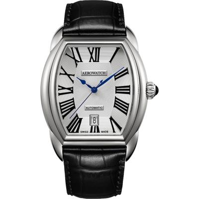 AEROWATCH Streamline 經典酒桶造型機械腕錶-銀/37mm