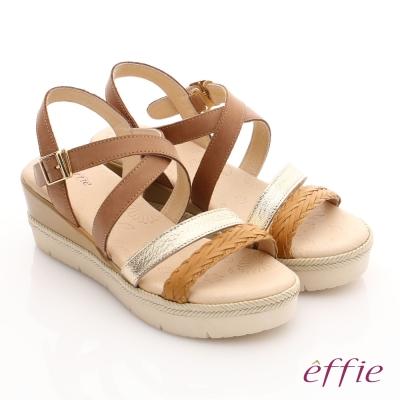 effie 嬉皮假期 真皮編織扣環簡約厚底涼拖鞋 茶色