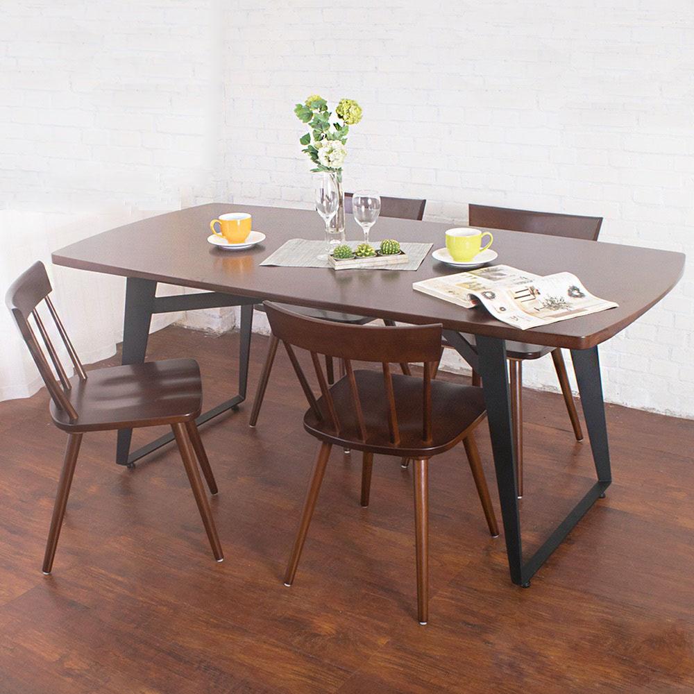 Boden-萊森工業風實木餐桌椅組(一桌四椅)-180x90x75cm