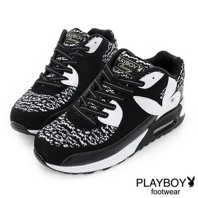 PLAYBOY-韓流指標-針織拼接氣墊休閒鞋-黑-女