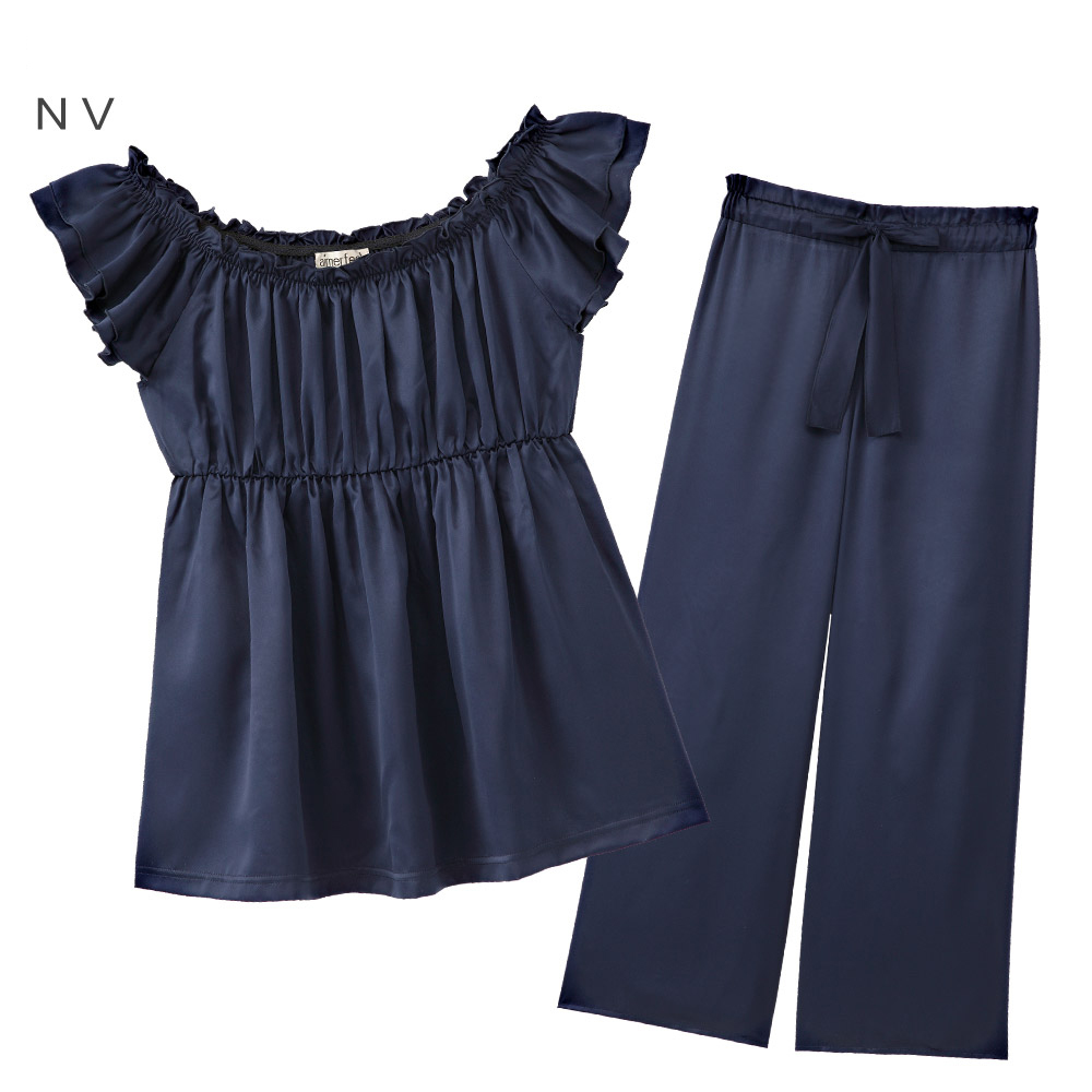 aimerfeel 緞布花邊裙襬成套家居服-深藍色