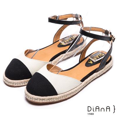 DIANA 新穎風尚--雙色時尚水鑽麻編涼鞋-黑X白