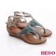 BESO 摩登部落 動物紋真皮夾腳羅馬涼鞋