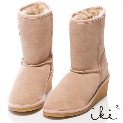 iki 2 甜美加分-美腿小楔跟好感雪靴-卡其