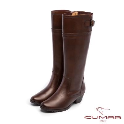 CUMAR柔美軍裝風-雙色簡約質感扣環長靴-棕