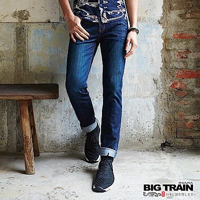 BIG TRAIN 日單寧金龍魚配布小直筒褲-男-深藍