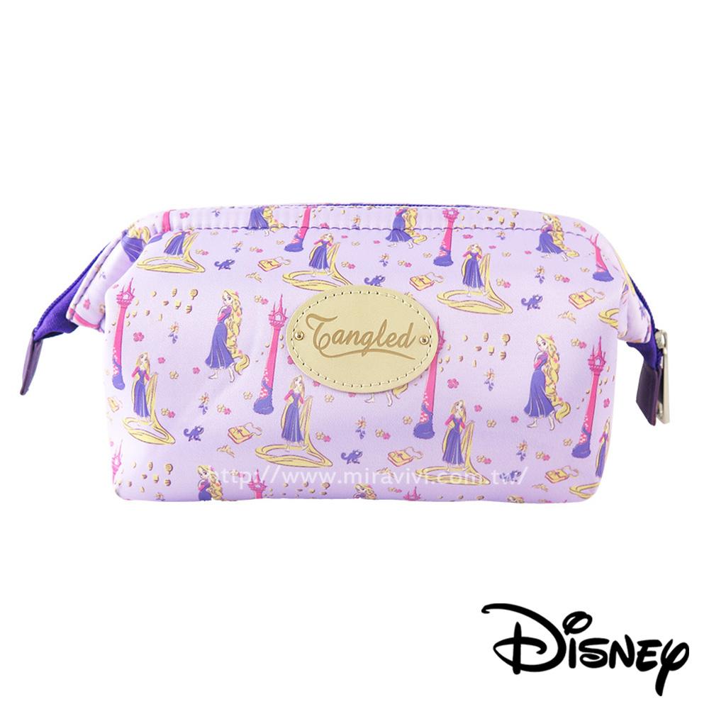 Disney迪士尼緞面滿版碎花大開口立體化妝包/萬用包-長髮公主
