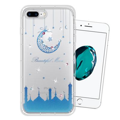 WT iPhone 8 Plus/ 7 Plus 奧地利水晶彩繪空壓手機殼(月彎...