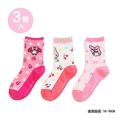 Sanrio 美樂蒂 3入兒童短襪16-18cm(玫瑰)