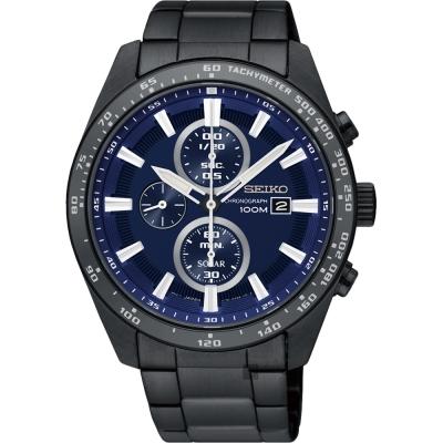 SEIKO精工 Criteria 極速計時男錶(SSC655P1)-藍x鍍黑/42mm