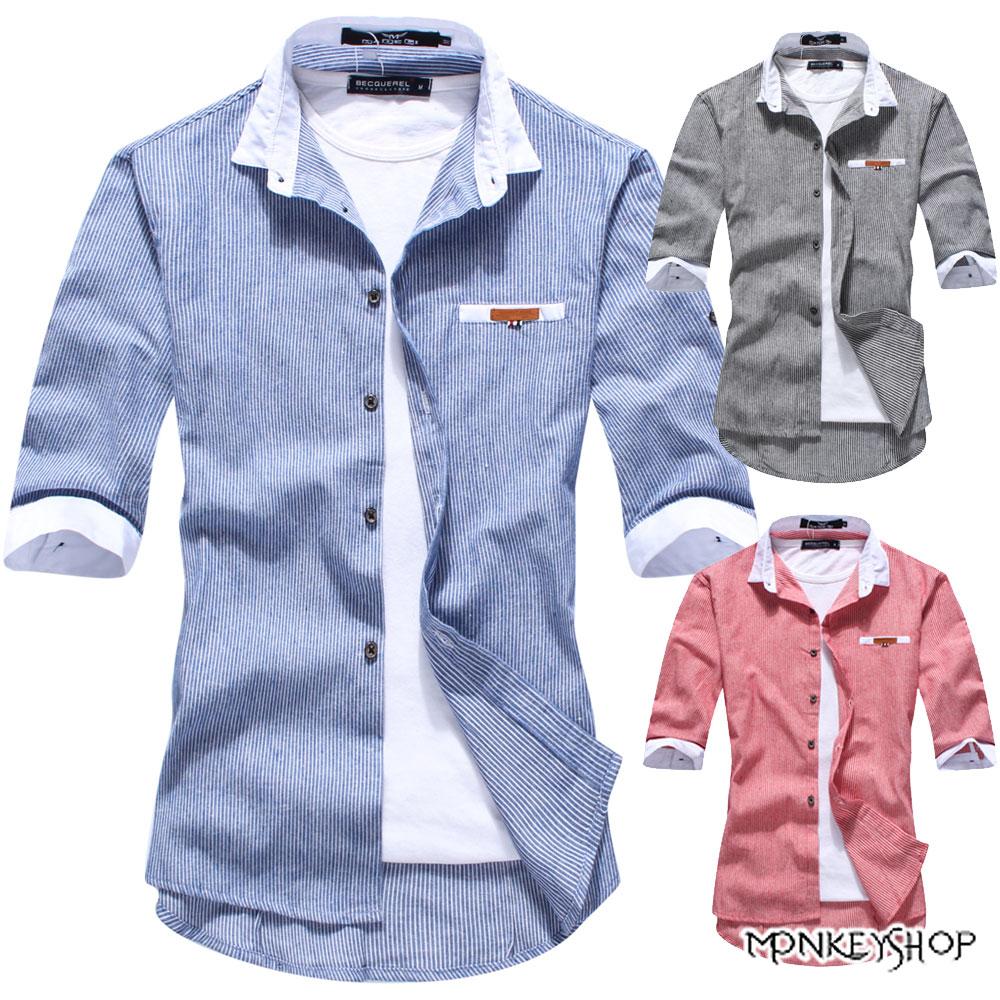 小猴子的賣場 潮流直條紋都會雅痞七分袖襯衫-3色