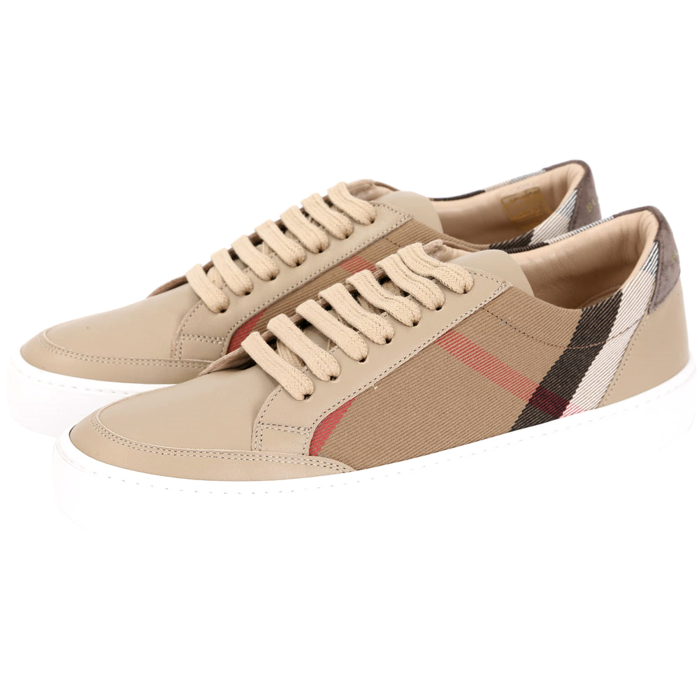 BURBERRY HOUSE 格紋細節設計皮革休閒鞋(女鞋/卡其色)
