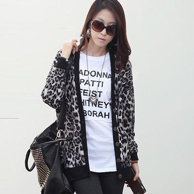 【N.C21】時尚豹紋元素長版外套 (共二色)