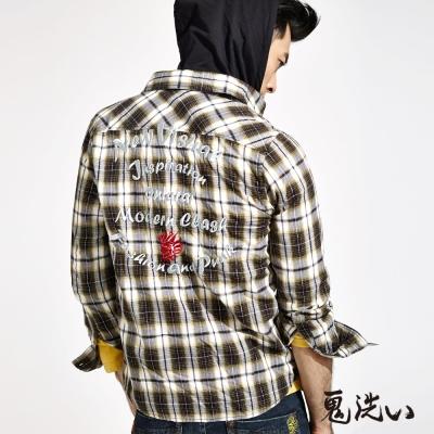 鬼洗 BLUE WAY 連帽格紋長袖襯衫