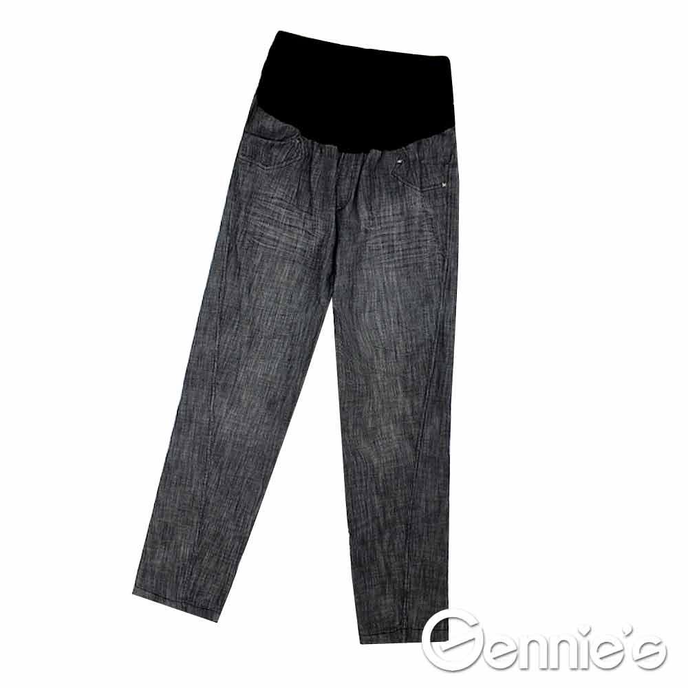 【Gennie's】率性時尚窄管牛仔孕婦長褲-灰(H4111)