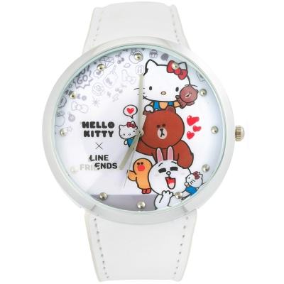 HELLO KITTY 凱蒂貓 x LINE 限量聯名手錶-白/50mm