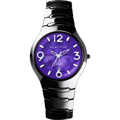 Relax Time Sweet Candy 甜心點點女孩陶瓷腕錶-紫x黑/37mm