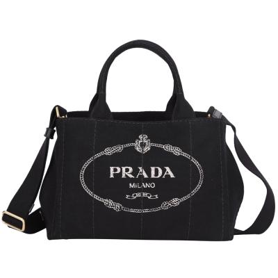 PRADA-Canvas-單寧-帆布-徽章-黑色