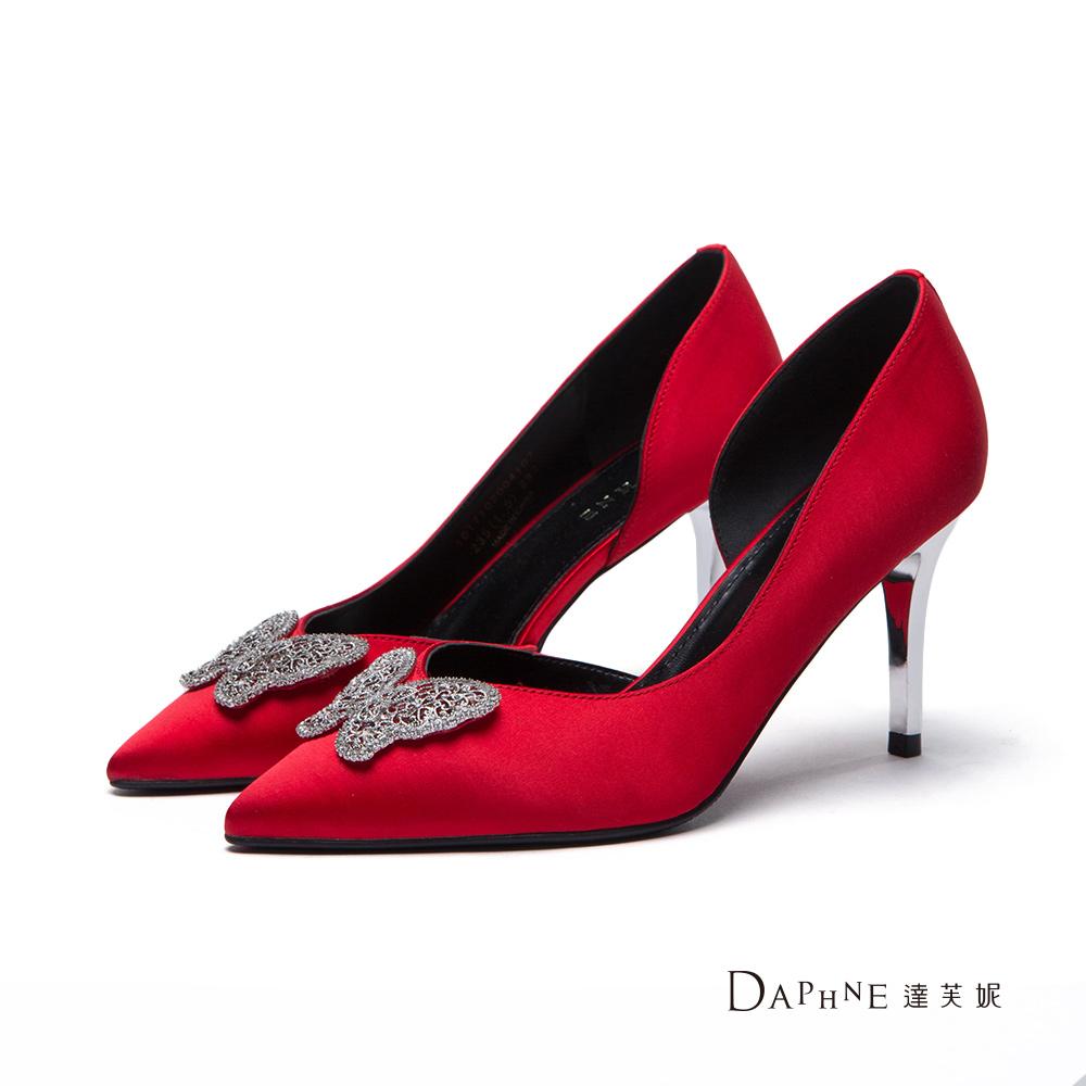 達芙妮DAPHNE 高跟鞋-縷空蝴蝶緞面尖頭鞋-紅
