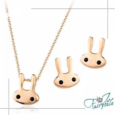 iSFairytale伊飾童話 療育兔子 合金鍍金繽項鍊耳環組