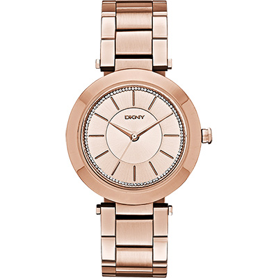 DKNY Stanhope 名模風采晶鑽時尚腕錶-玫瑰金/36mm