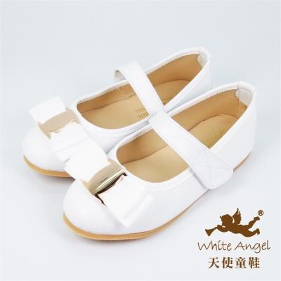 天使童鞋-J912 法式時尚公主鞋(中-大童)-白